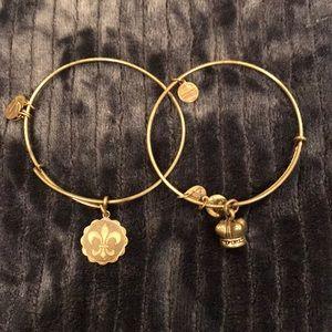 Alex and Ani Fleur de Lis and Crown bracelets